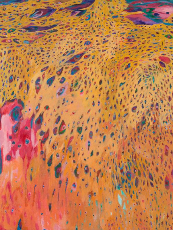"""Suns, Stars, and Cosmic Tree #18"", acrylic on canvas (48""x36""), 2014"
