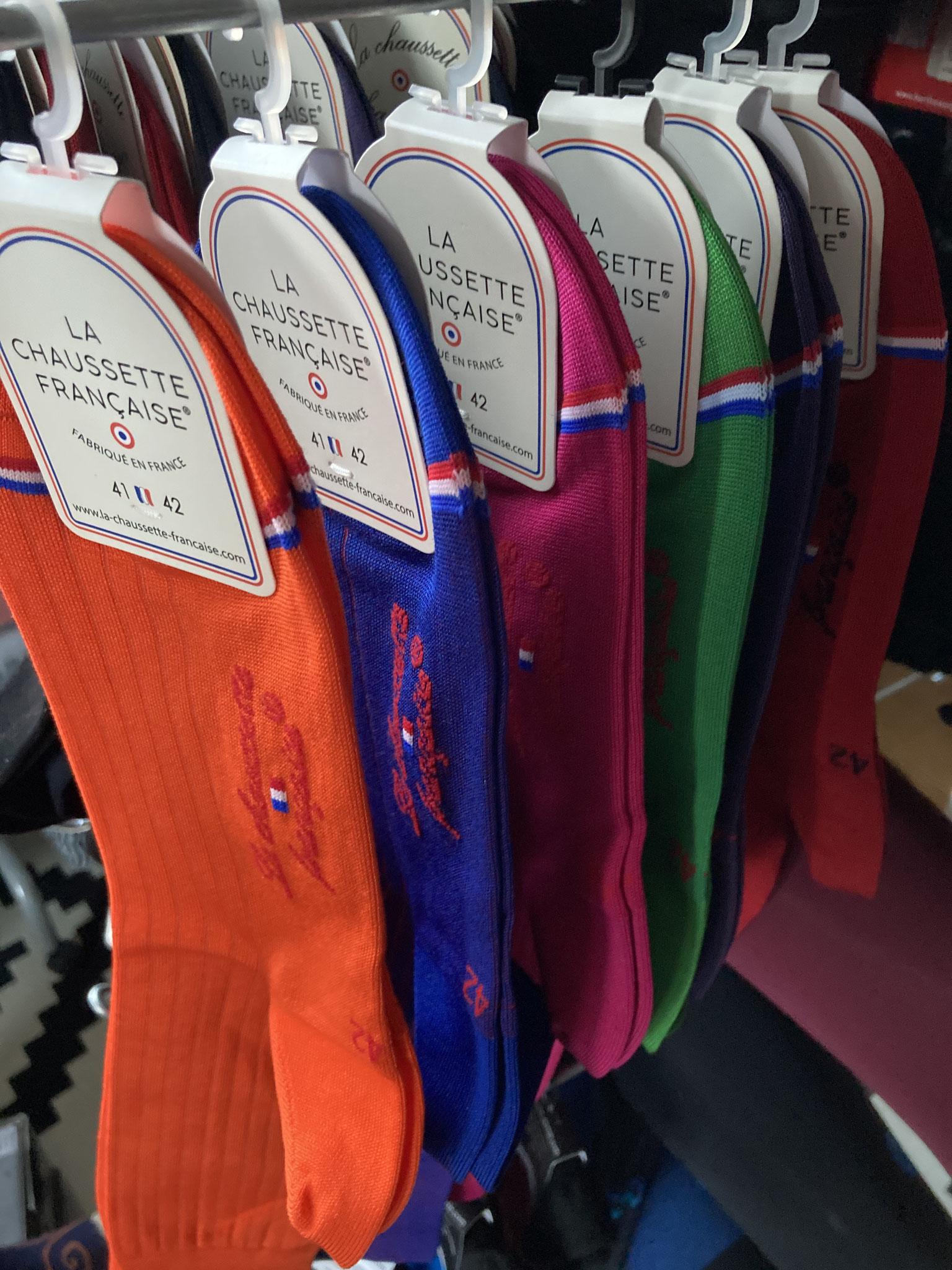 La Chaussette française die Edle aus mercerisierter BW (CHF 33.-) in Grössen 39/40 - 45/46 in 6 Farben