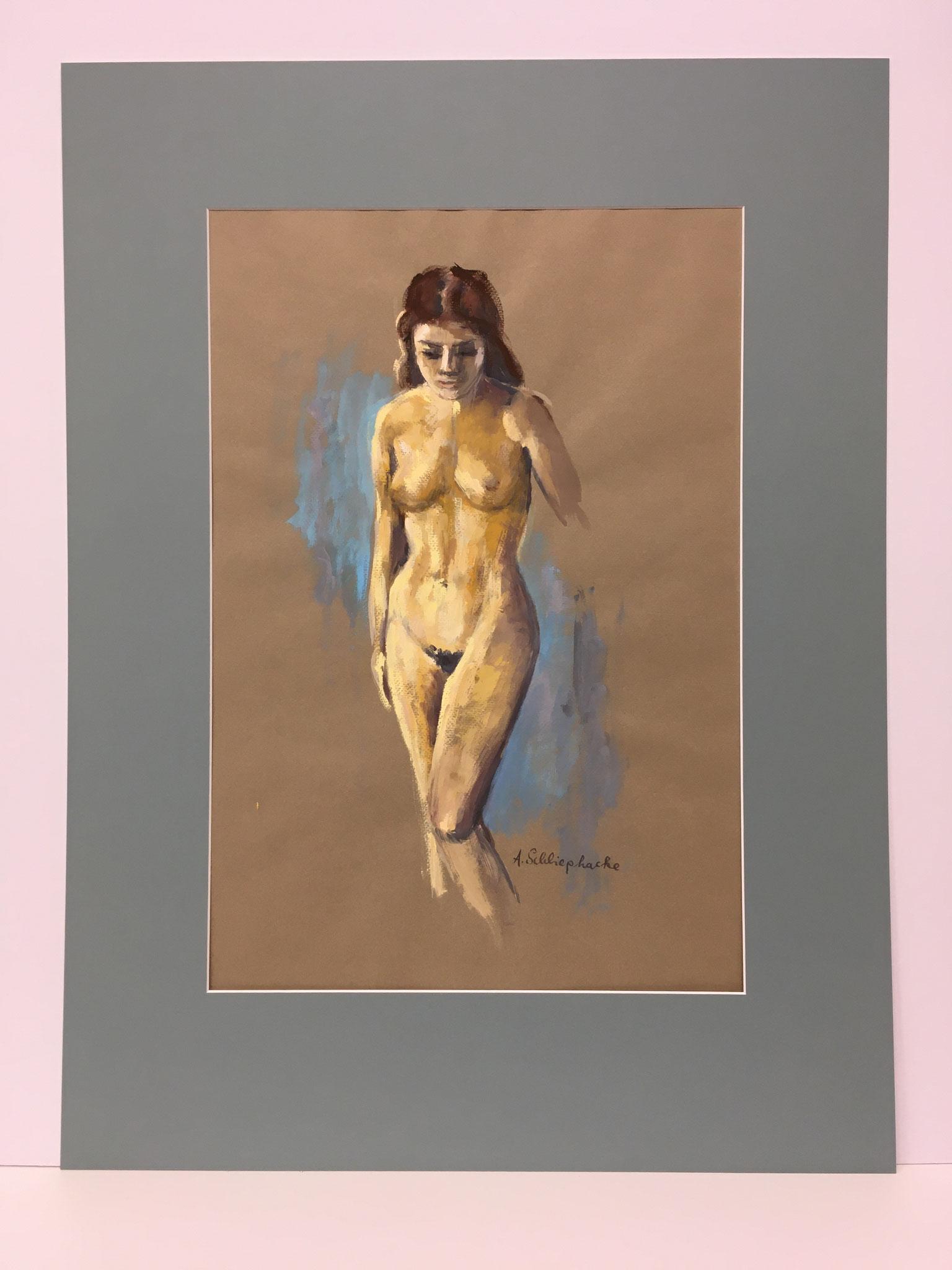 """Orig. Gouache auf Papier """"Frauenakt (stehend)"""" - 60 x 80 cm - 1.490,-€"""