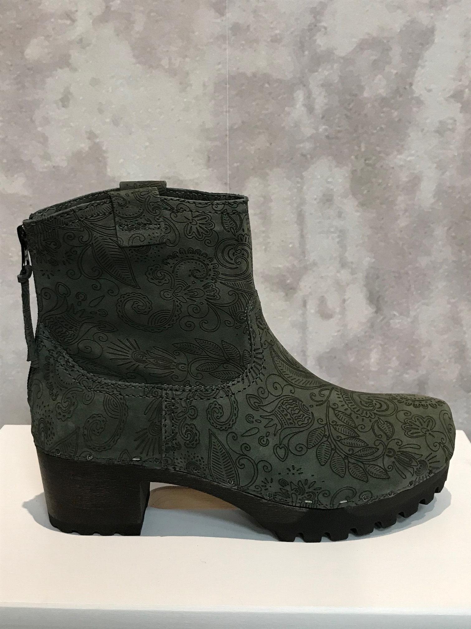 INKEN Boho Nubuk grün,  Reißverschluss hinten, Größen 37 / 38 / 39 / 41, UVP 249,95, Sale 200,00 Euro