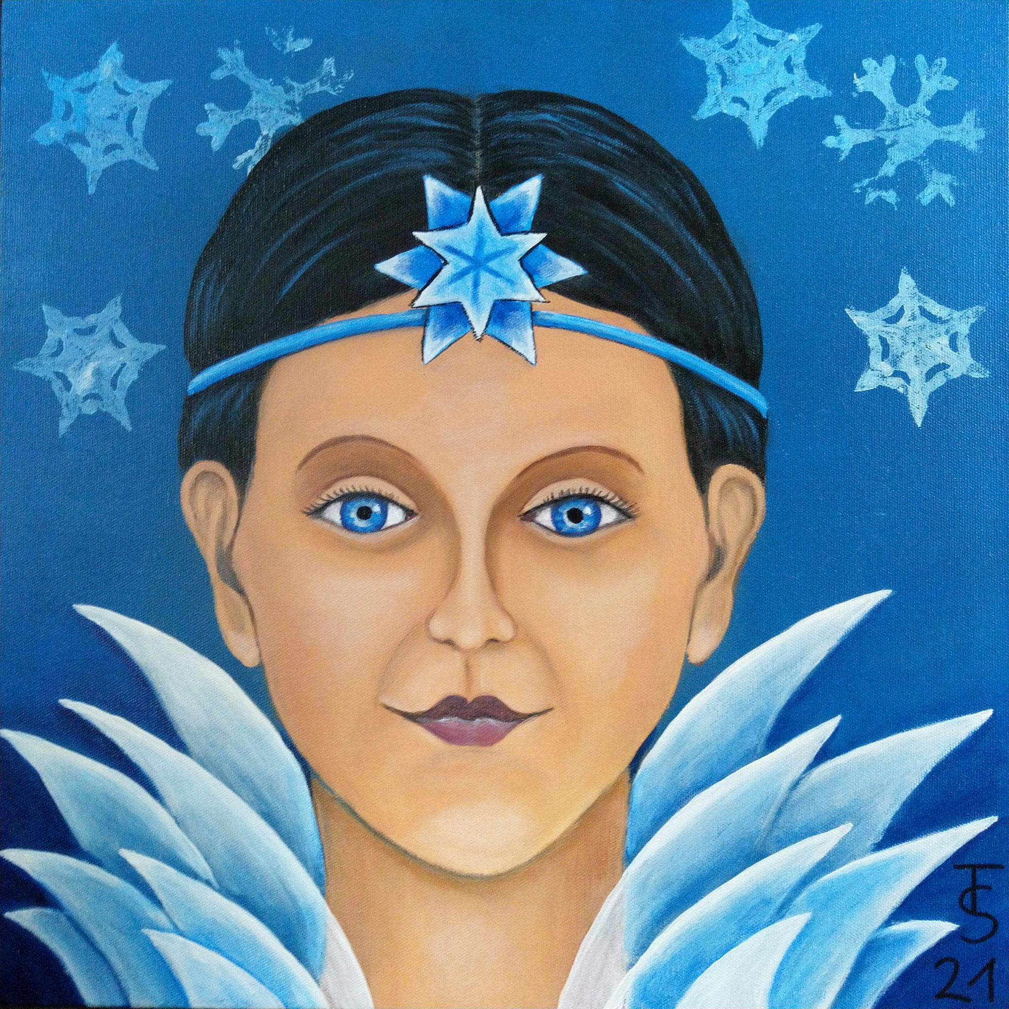 Wintergöttin -  (Acryl auf Leinwand, 50 x 50 m)