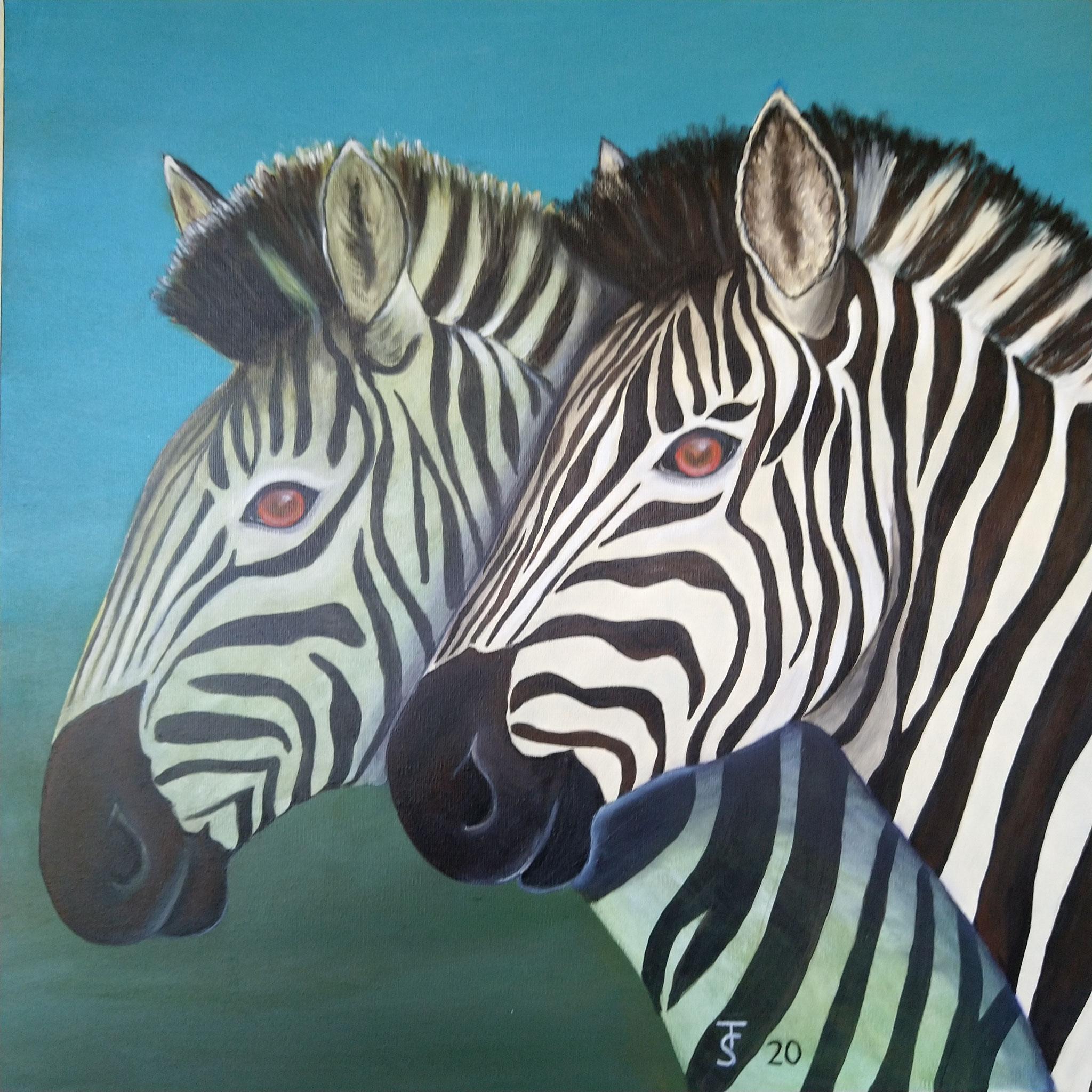 Zebras  _   (Acryl auf Leinwand, 70 x 70 cm)