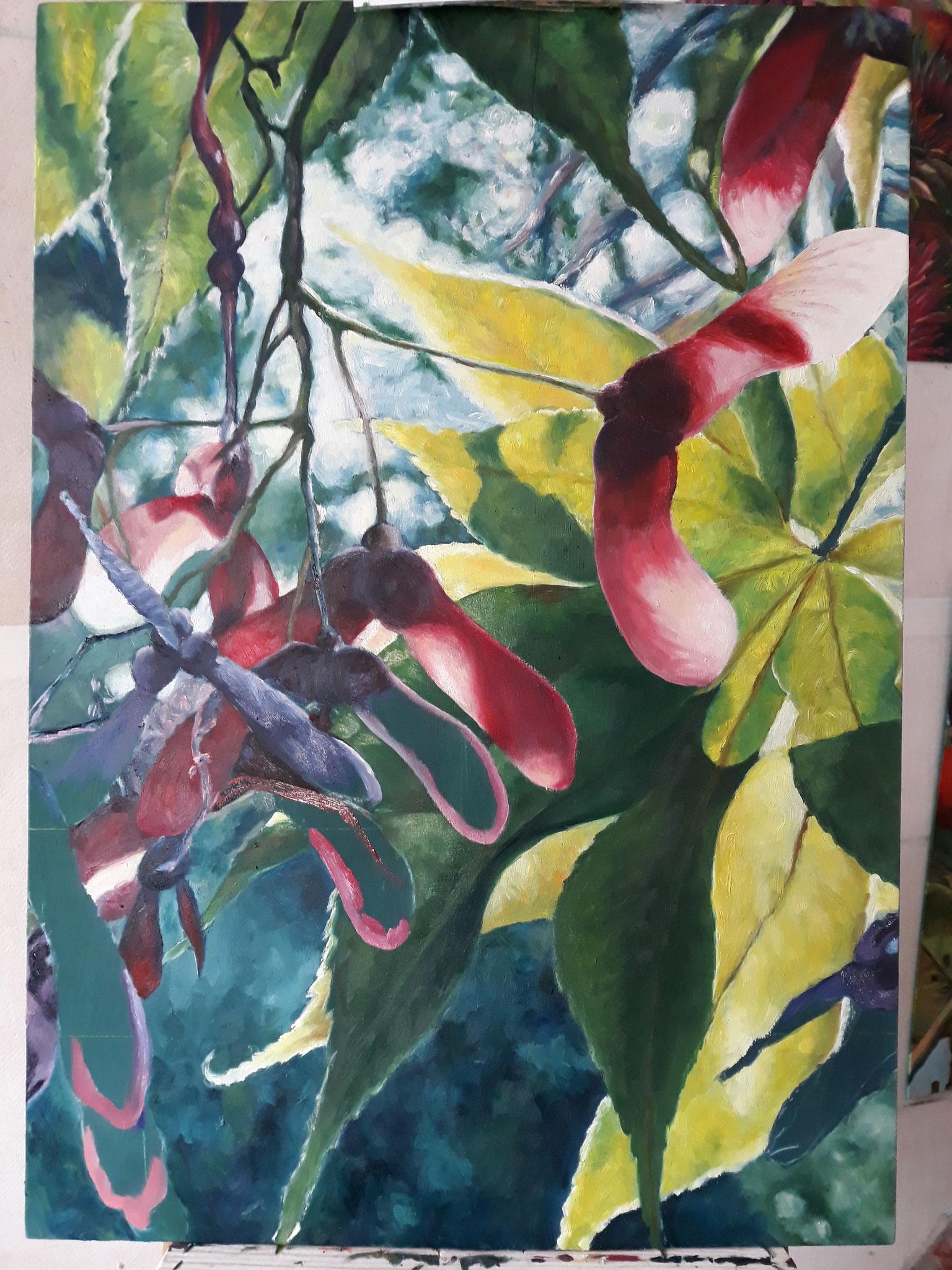 Ahorn, frau jenson 2019, Ölmalerei auf Holz