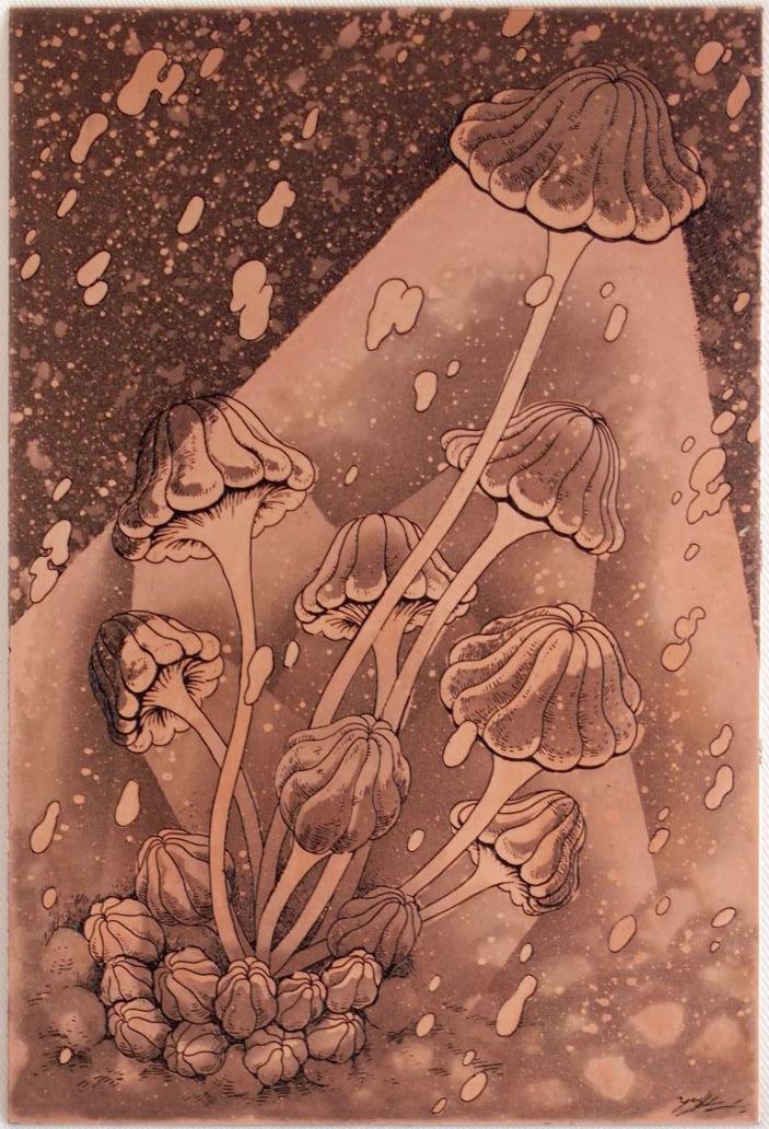「アンブレライト」  (英題:umbrellight)  腐蝕銅レリーフ 15×10 cm