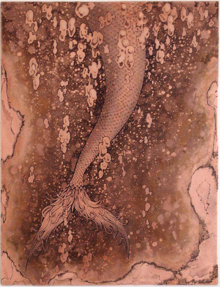 「もっと遠くへ」  腐蝕銅レリーフ 20×15 cm