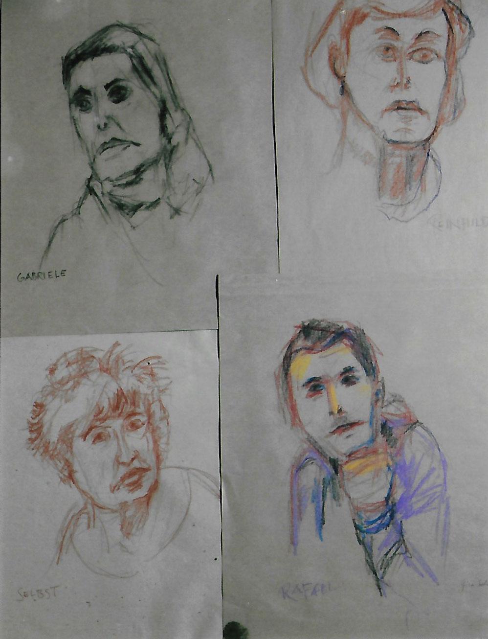 4 Portraits, verschiedene Stifte auf Papie, links unten Selbstportrait