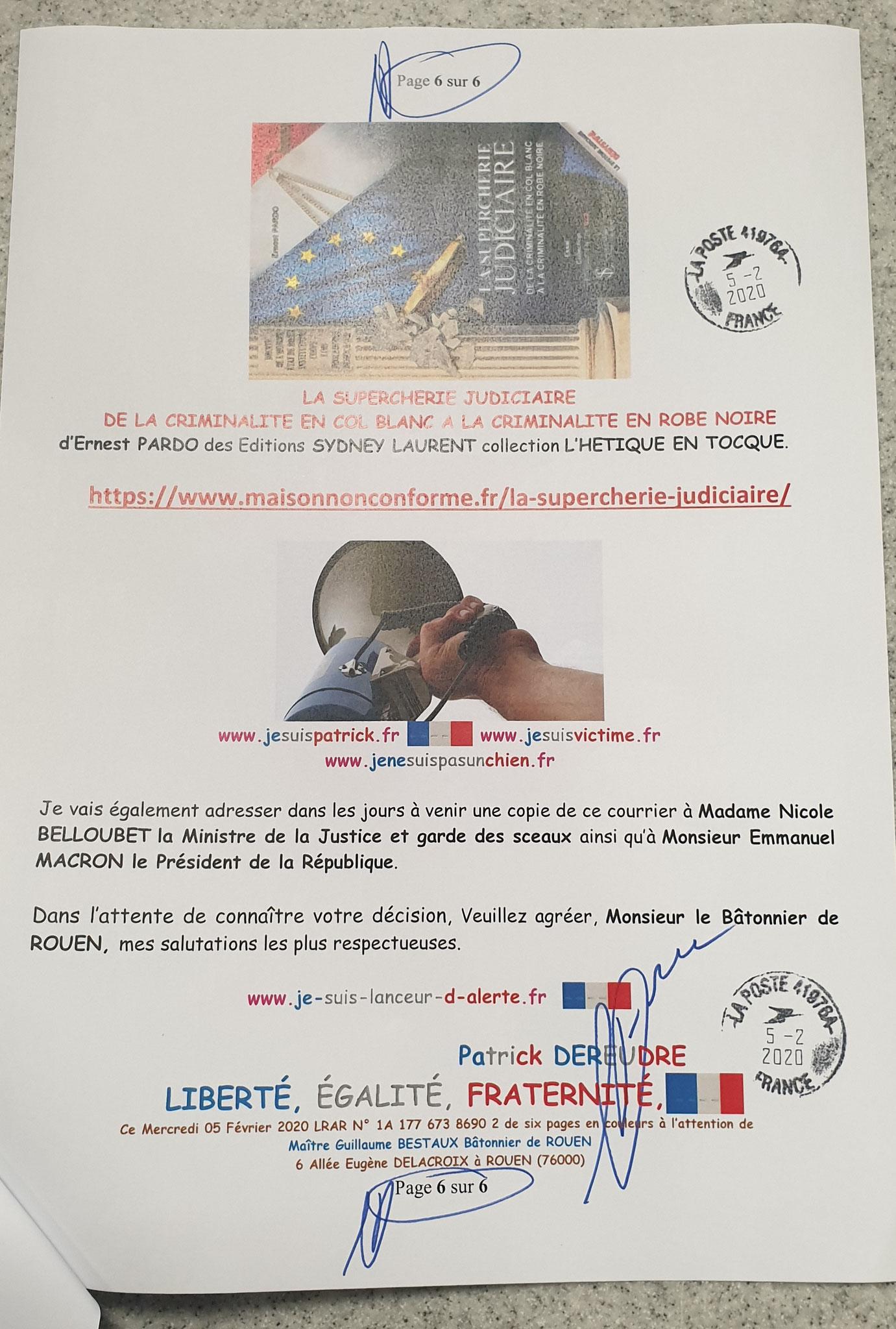 Ma lettre recommandée du 05 Février 2020 N° 1A 177 673 8690 2 Page 6 sur 6 en couleurs www.jesuispatrick.fr www.jesuisvictime.fr www.alerte-rouge-france.fr