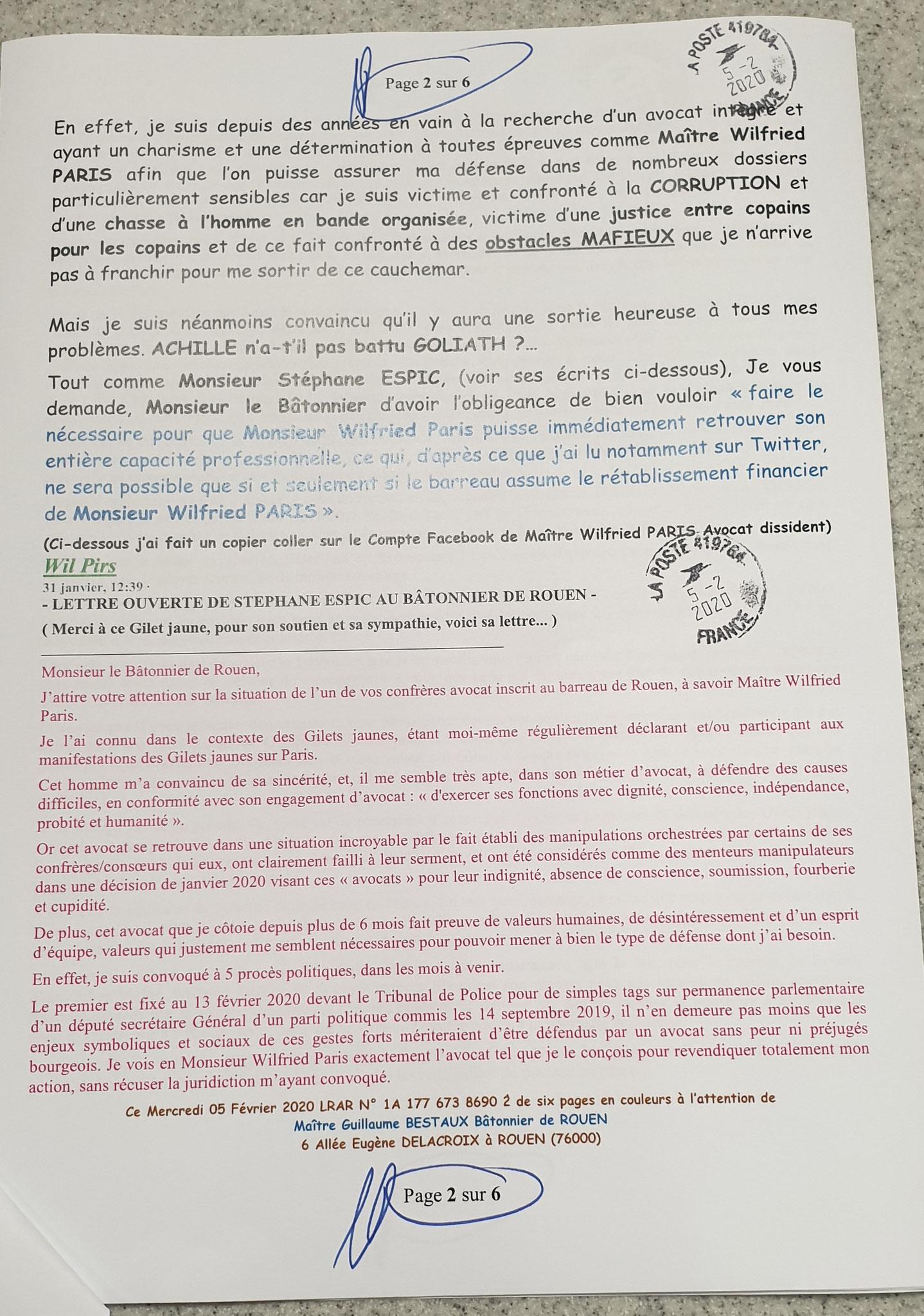 Ma lettre recommandée du 05 Février 2020 N° 1A 177 673 8690 2 Page 2 sur 6 en couleurs www.jesuispatrick.fr www.jesuisvictime.fr www.alerte-rouge-france.fr