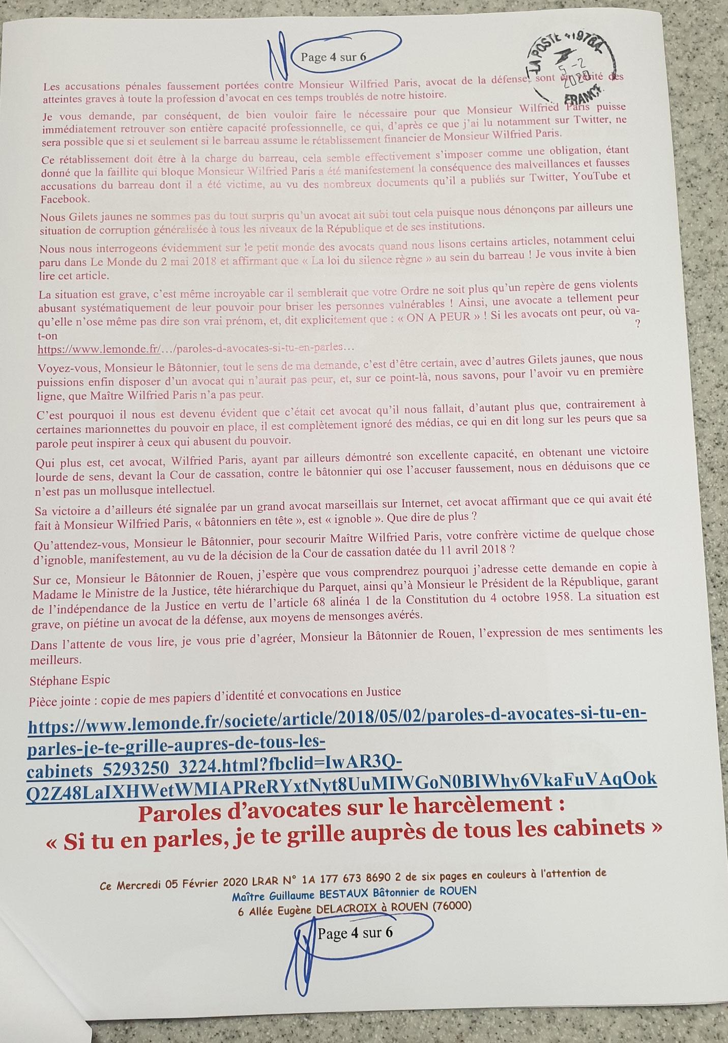 Ma lettre recommandée du 05 Février 2020 N° 1A 177 673 8690 2 Page 4 sur 6 en couleurs www.jesuispatrick.fr www.jesuisvictime.fr www.alerte-rouge-france.fr