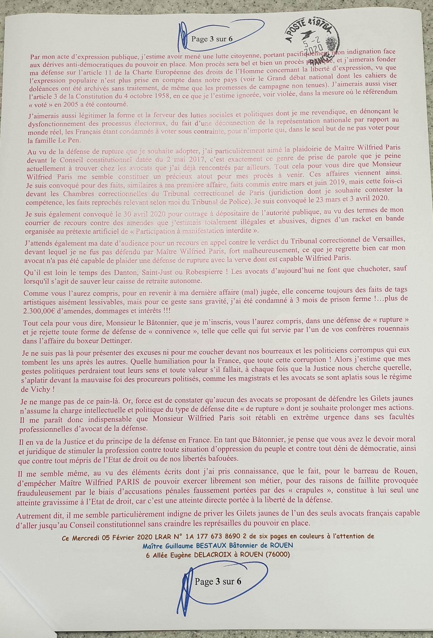 Accusé de Réception & Preuve de Dépôt Ma lettre recommandée du 05 Février 2020 N° 1A 177 673 8690 2 Page 3 sur 6 en couleurs www.jesuispatrick.fr