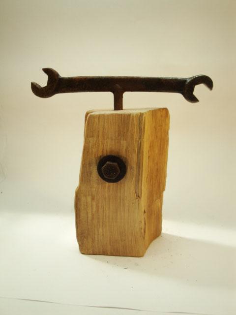 Pfeffermühle Unikat einem alten Eichenbalken mit Antikkurbel