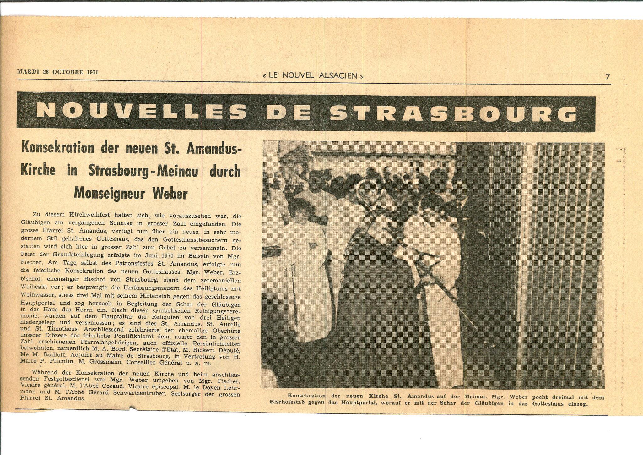 Article du Nouvel Alsacien du 26/10/1970 relatant la consécration de l'église St Amand le 24/10/1970