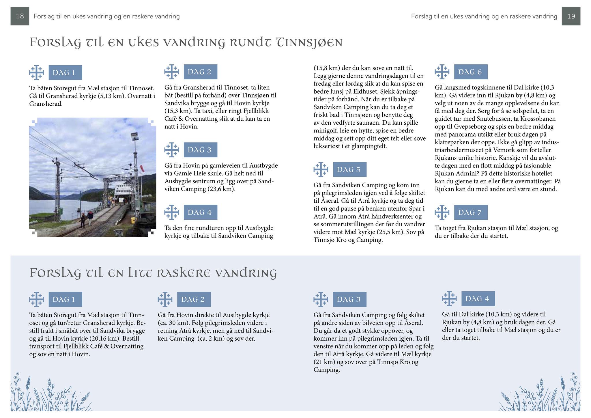Guideboken kvitekyrkjer rundt Tinnsjøen - oversikt etappene