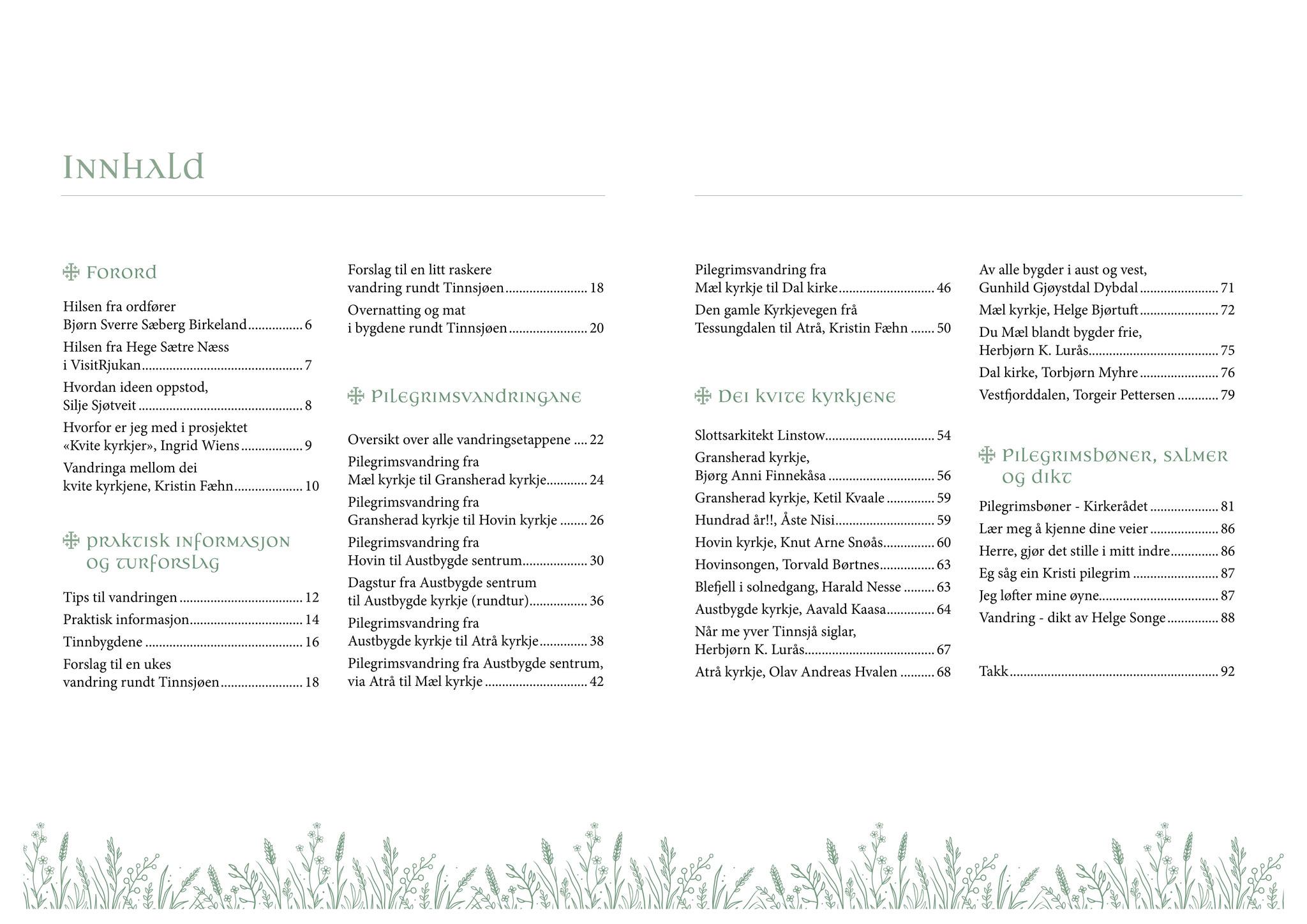Guideboken kvitekyrkjer rundt Tinnsjøen - innholdsfortegnelse