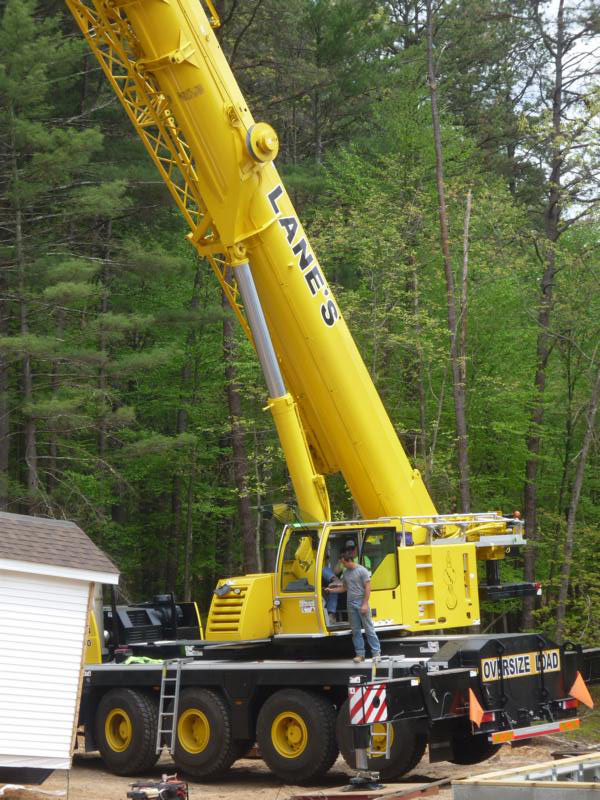 heavy duty crane is setting the boxes