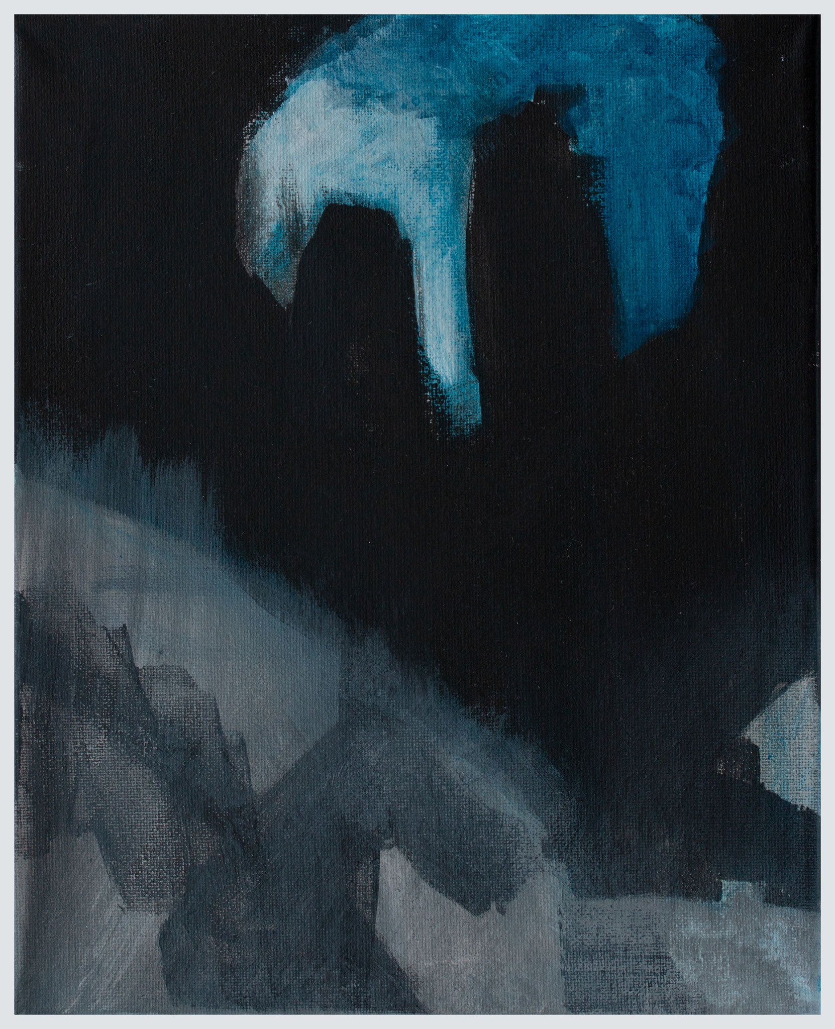 Black and blue, mixed media op canvas 30x24 cm 2019