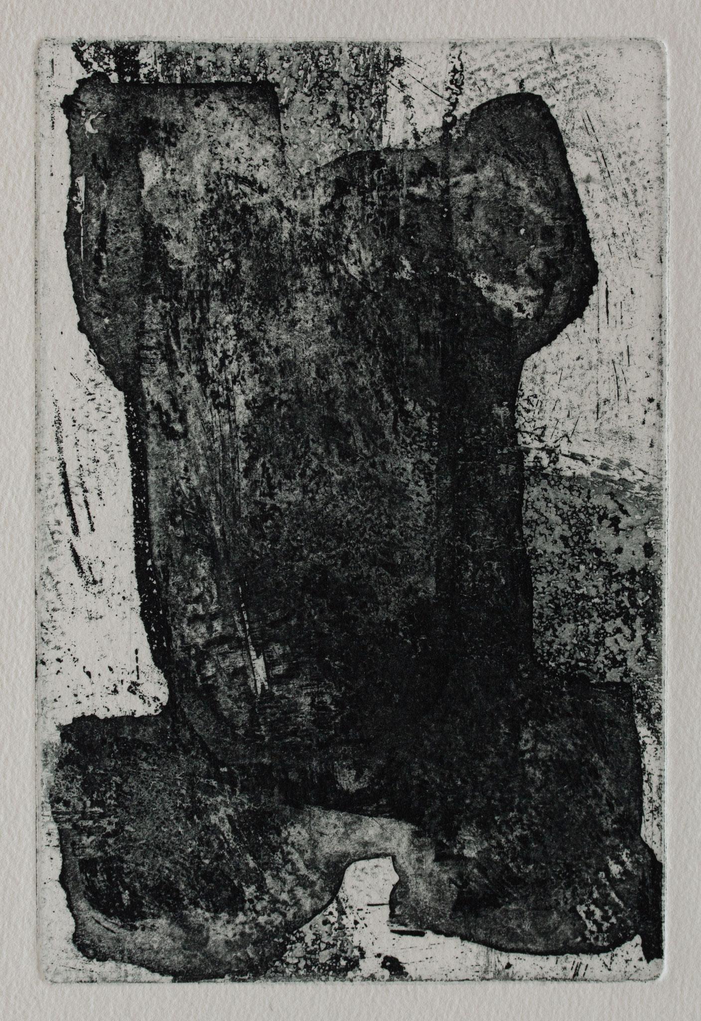 Ets, Aquatint 13,5x9 cm 2019 'Black form'