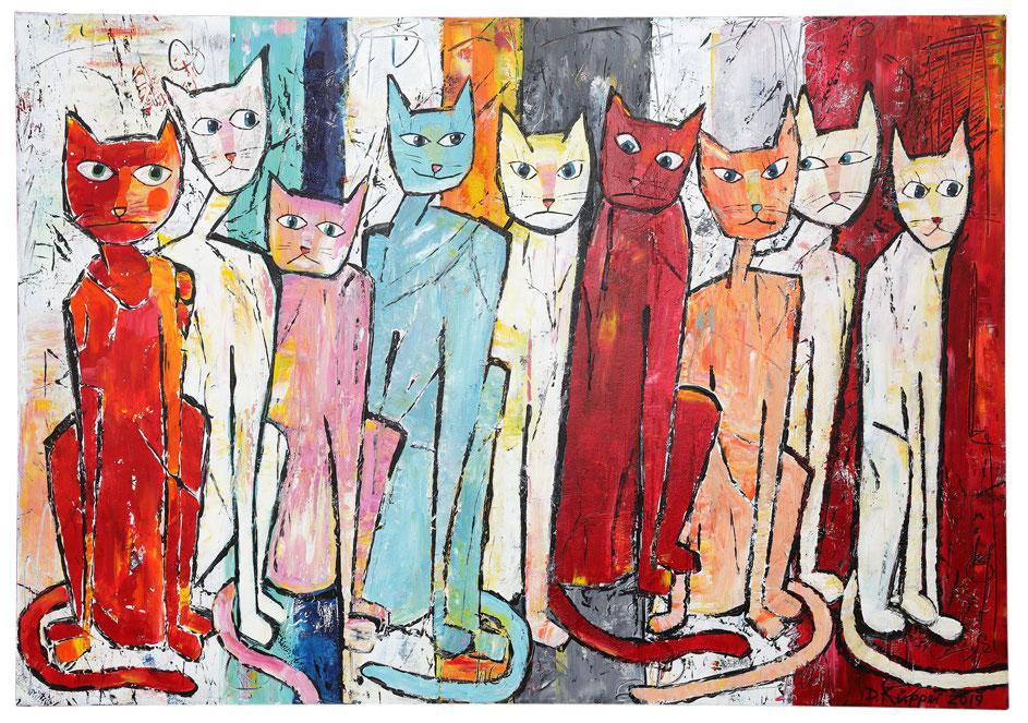 9 Katzen - 70x100cm - 390 Euro