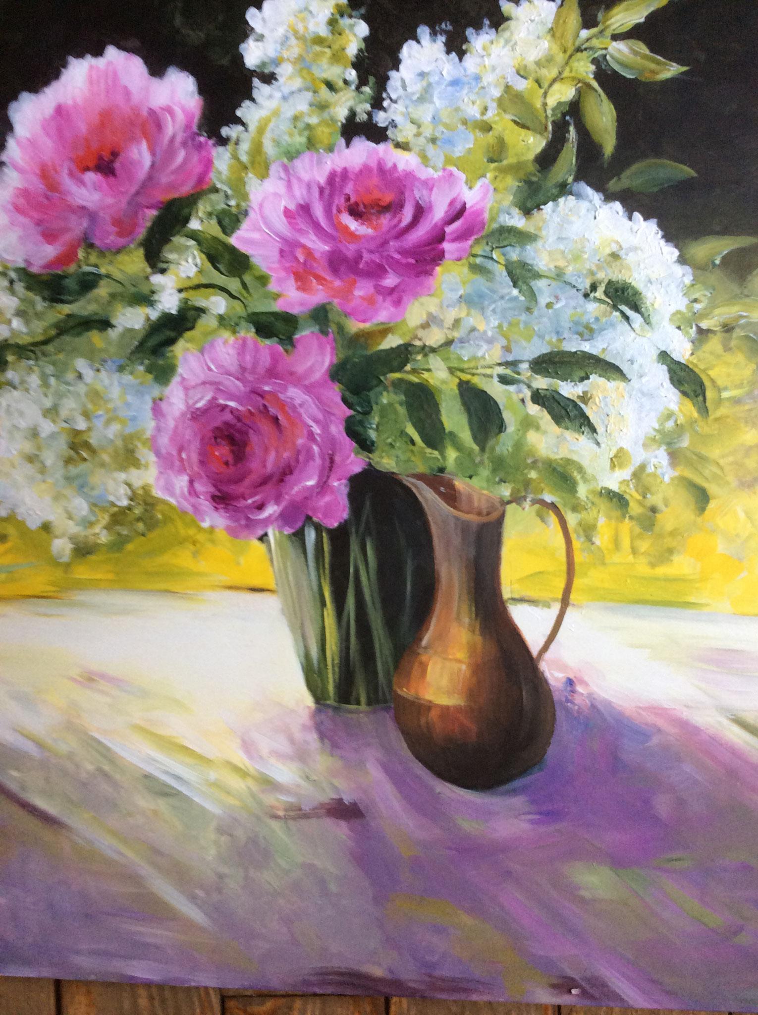"""Neige VELA  """"Bouquet de fleurs"""" huile"""