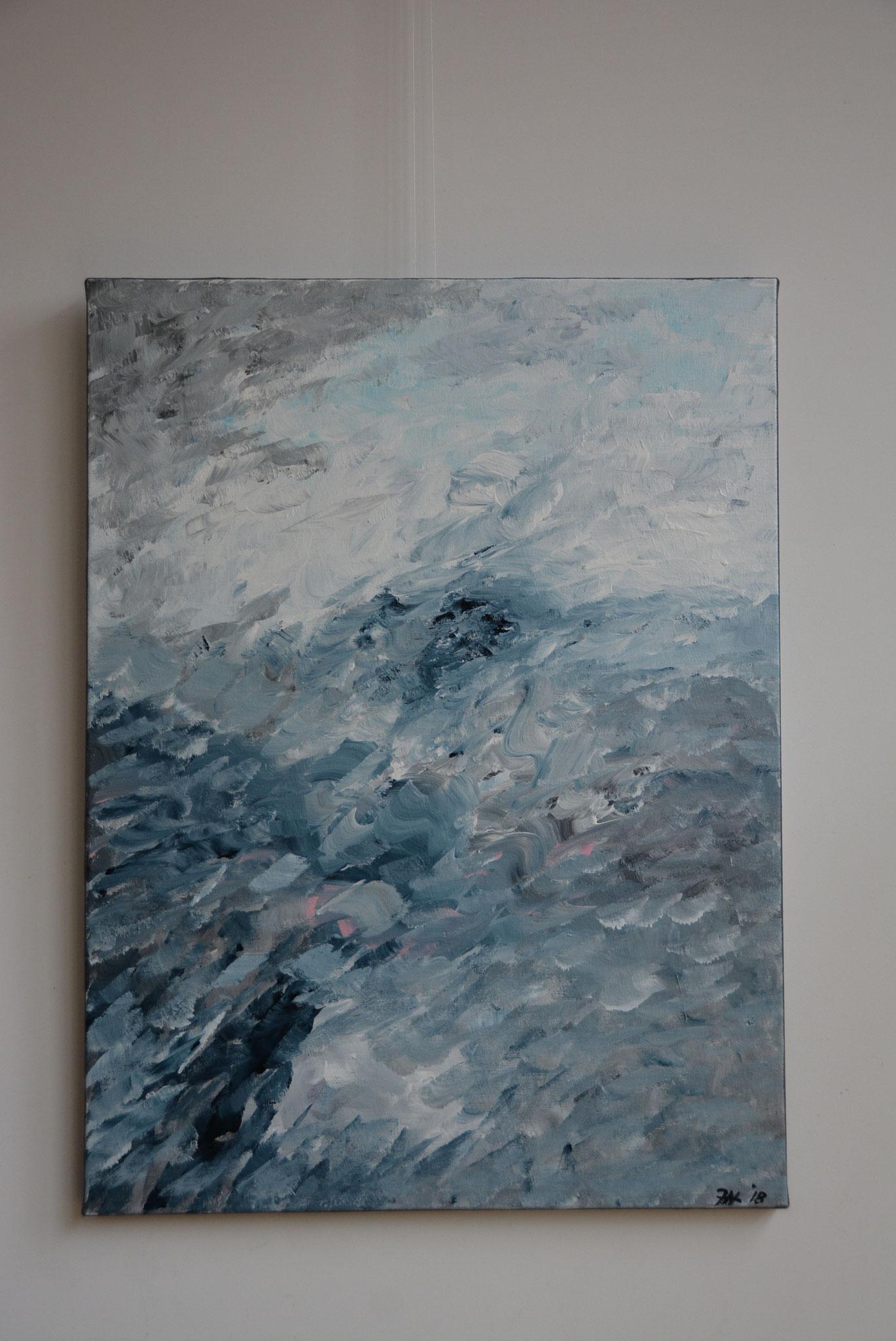 Titel: Tale of the man and the sea, 60 x 80 cm Acryl op Linnen. December 2018. Prijs € 560,-
