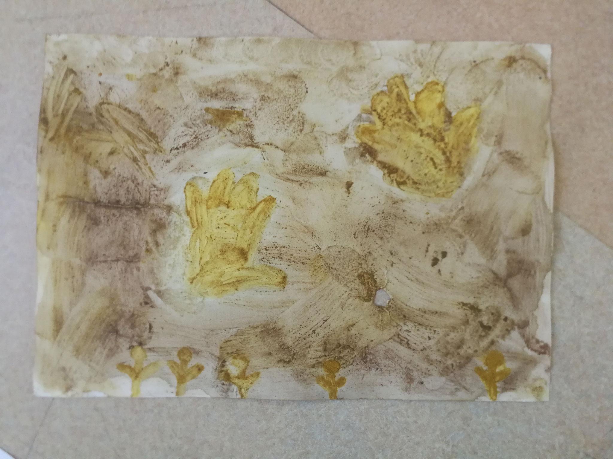 Peinture rupestre avec café et curry (Primaires)