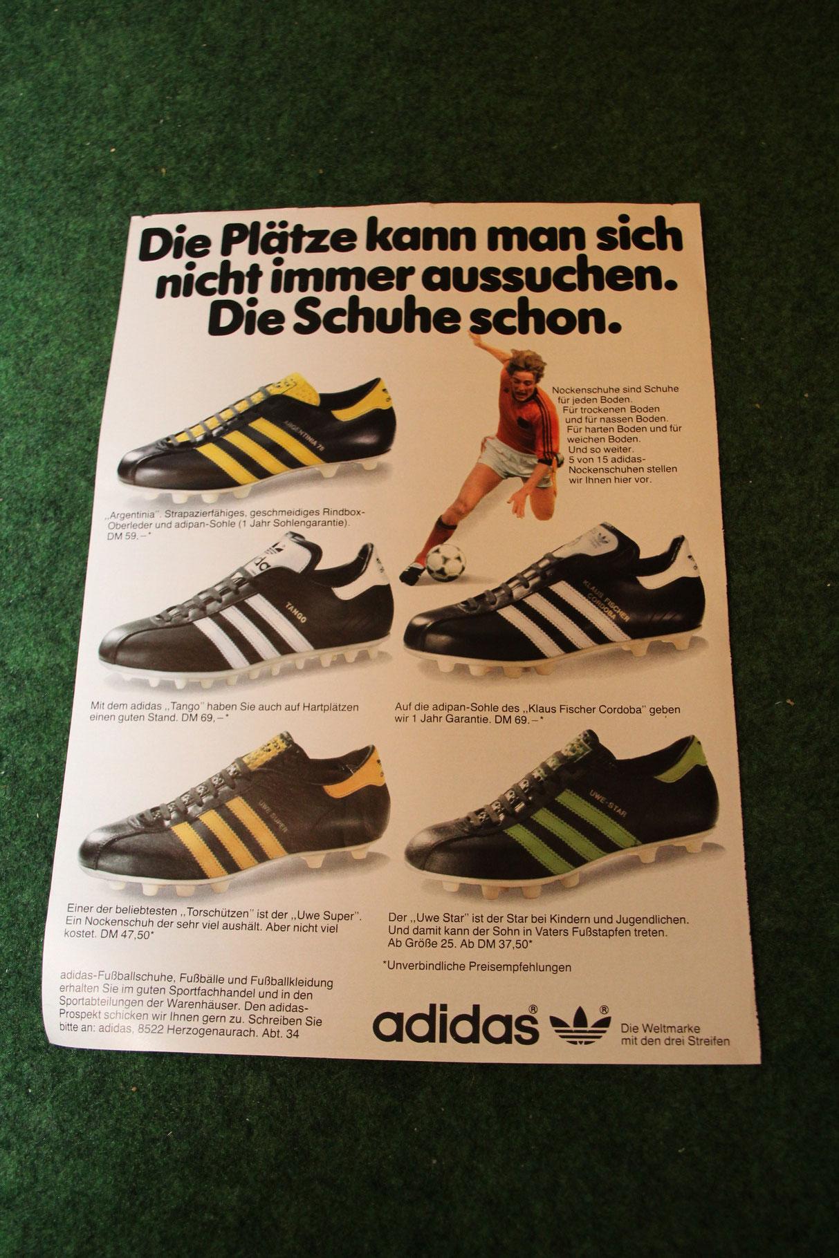 """adidas Werbeblatt """"Die Plätze kann man sich nicht immer aussuchen. Die Schuhe schon."""""""