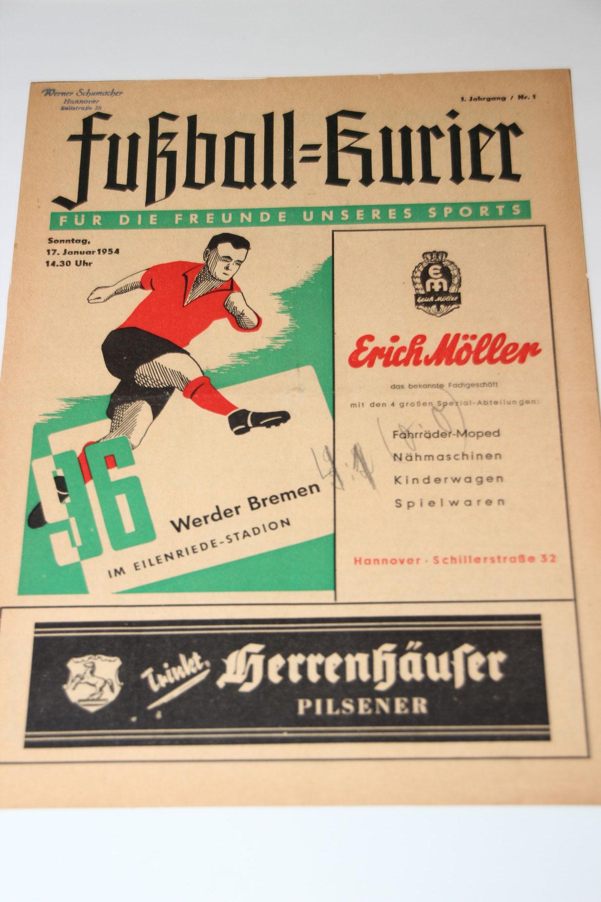 Der Fussballkurier vom 15. August 1954. Die erste Stadionzeitschrift von Hannover 96.