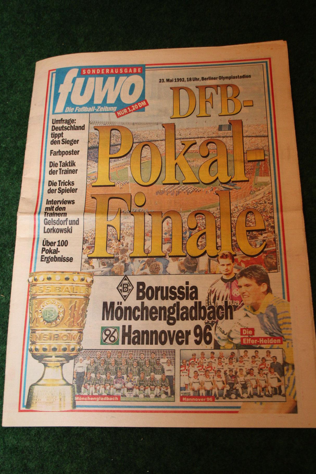 Fußball-Woche Sonderausgabe zum DFB-Pokal Finale 1992 Gladbach gegen Hannover 96.