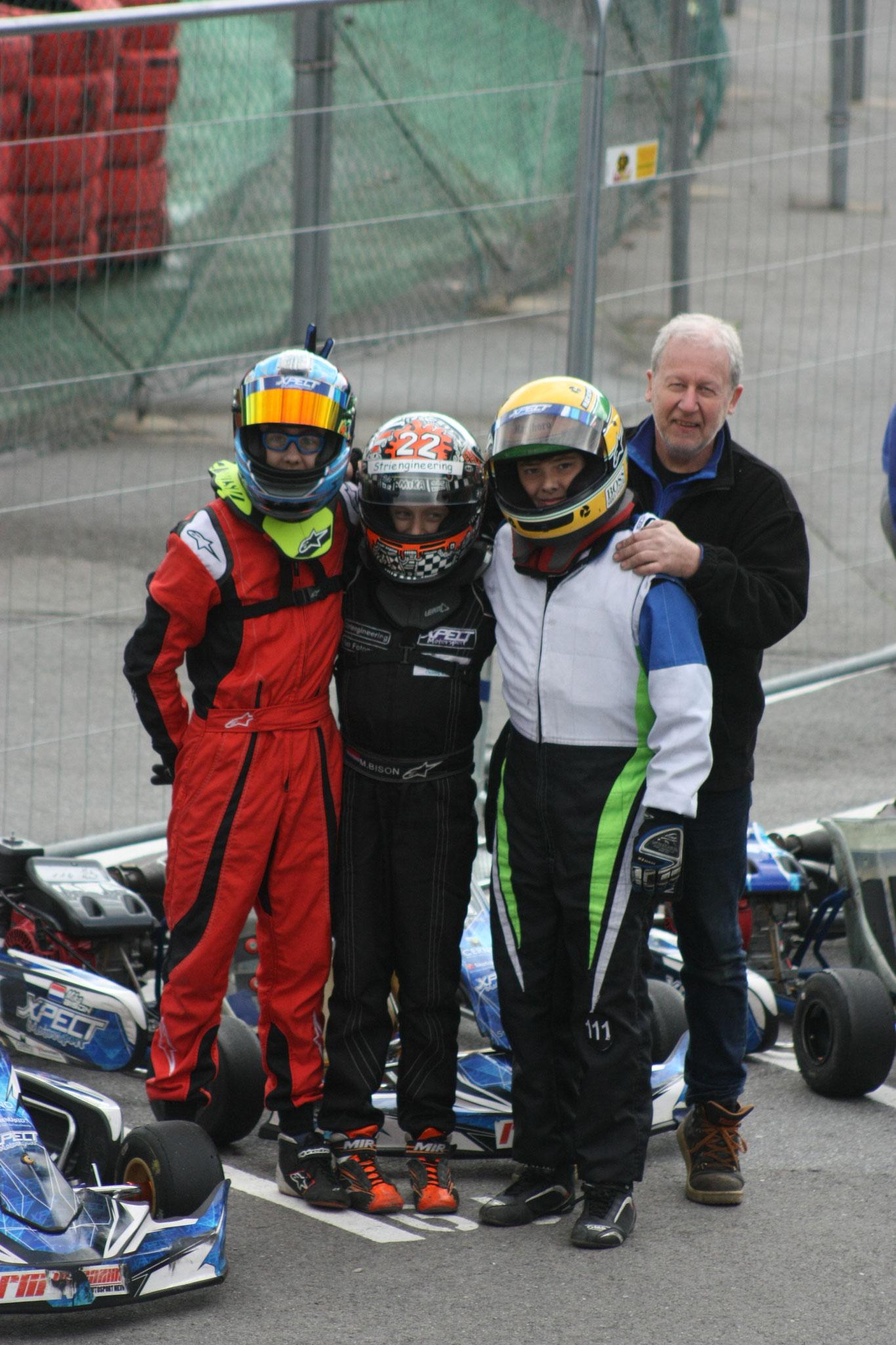 Formula Honda 9PK teamfoto....... Iano, Mika, Mika en Eddy....