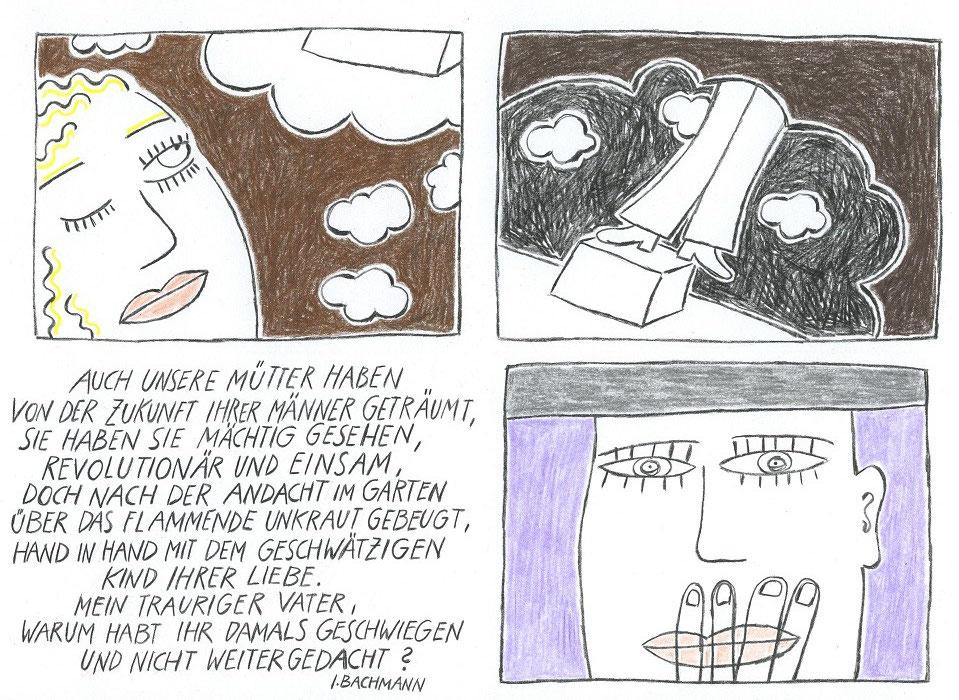 """Blatt 15 aus der Serie von Zeichnungn zu """"ANRUFUNG DES GROSSEN BÄREN"""" von Ingeborg Bachmann, Zitat © 1978 Piper Verlag GmbH, München Piper, Ingeborg Bachmann: Werke, Bd. 1. Gedichte"""