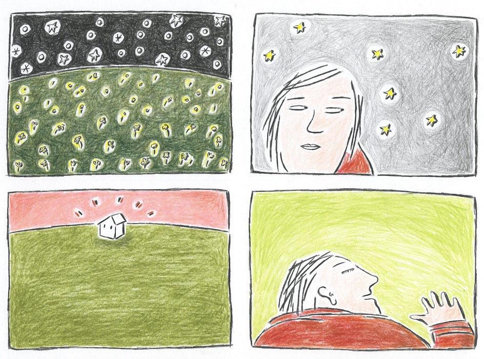 """Blatt 16 aus der Serie von Zeichnungn zu """"ANRUFUNG DES GROSSEN BÄREN"""" von Ingeborg Bachmann"""