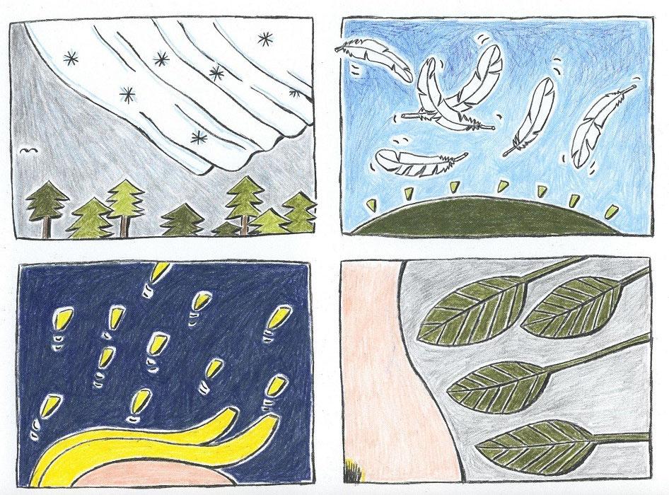 """Blatt 12 aus der Serie von Zeichnungn zu """"ANRUFUNG DES GROSSEN BÄREN"""" von Ingeborg Bachmann"""