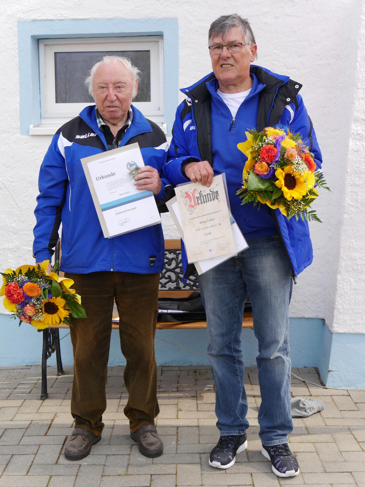 Herzlichen Glückwunsch unseren beiden Ruderkameraden Werner Kohls und Heinz Löbel, verbunden mit einem riesigen Dankeschön für die geleistete Vereinsarbeit!