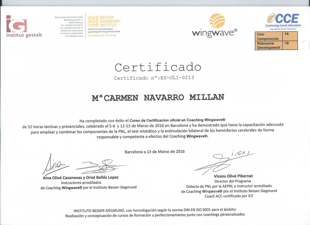 Certificada en Coaching Wingwave®