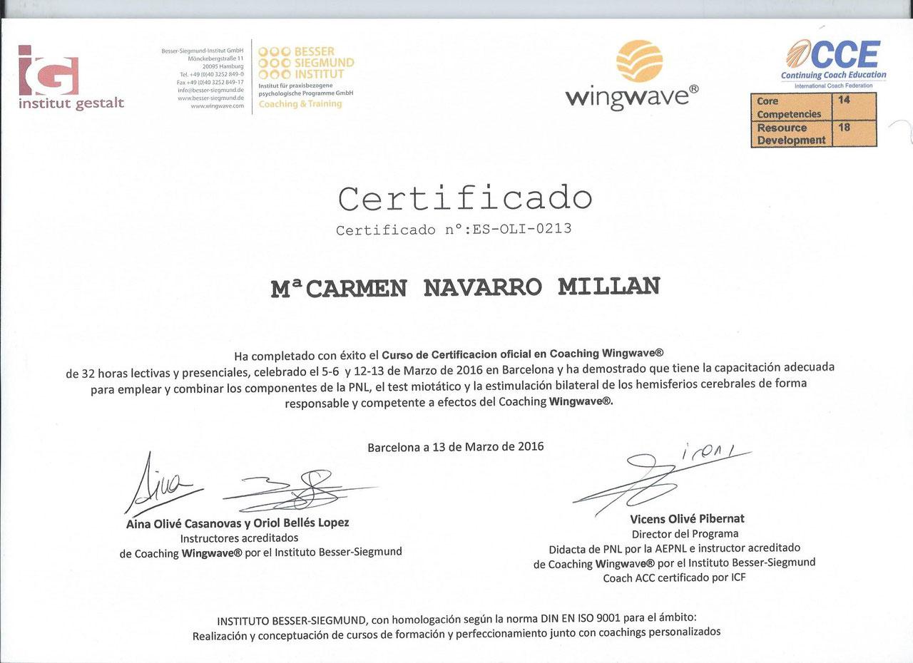 Certificada en Coaching Wingwave®