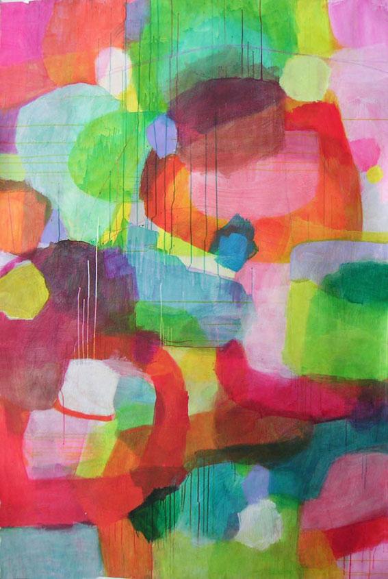 ohne Titel, 217 x 145 cm, Mischtechnik auf Papier, 2003