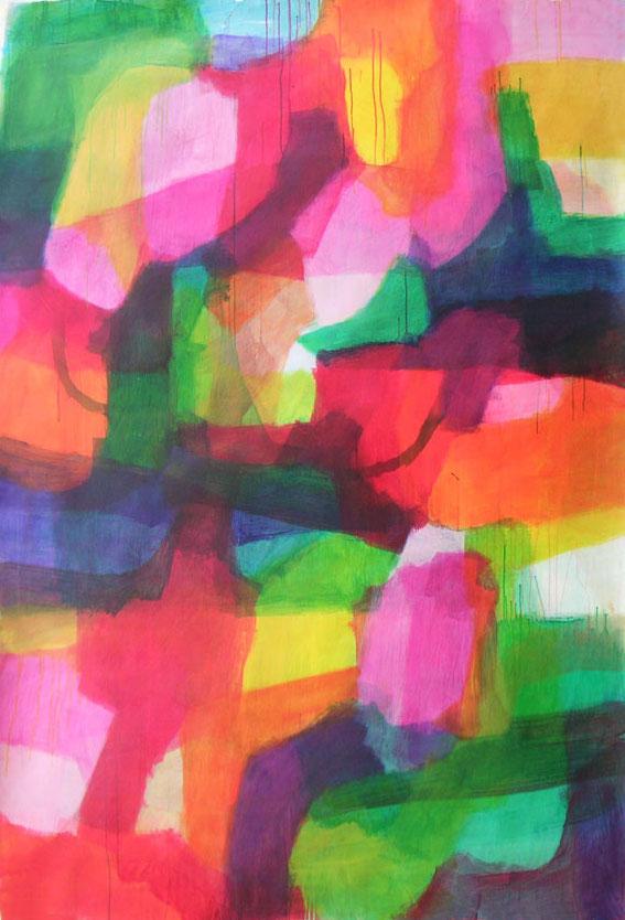 ohne Titel, 215 x 145 cm, Mischtechnik auf Papier, 2003
