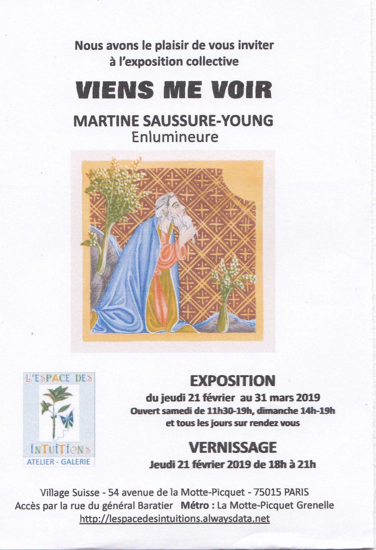 Vernissage 21 fevrier 2019 de l'exposition d'enluminures religieuses de Martine Saussure-Young
