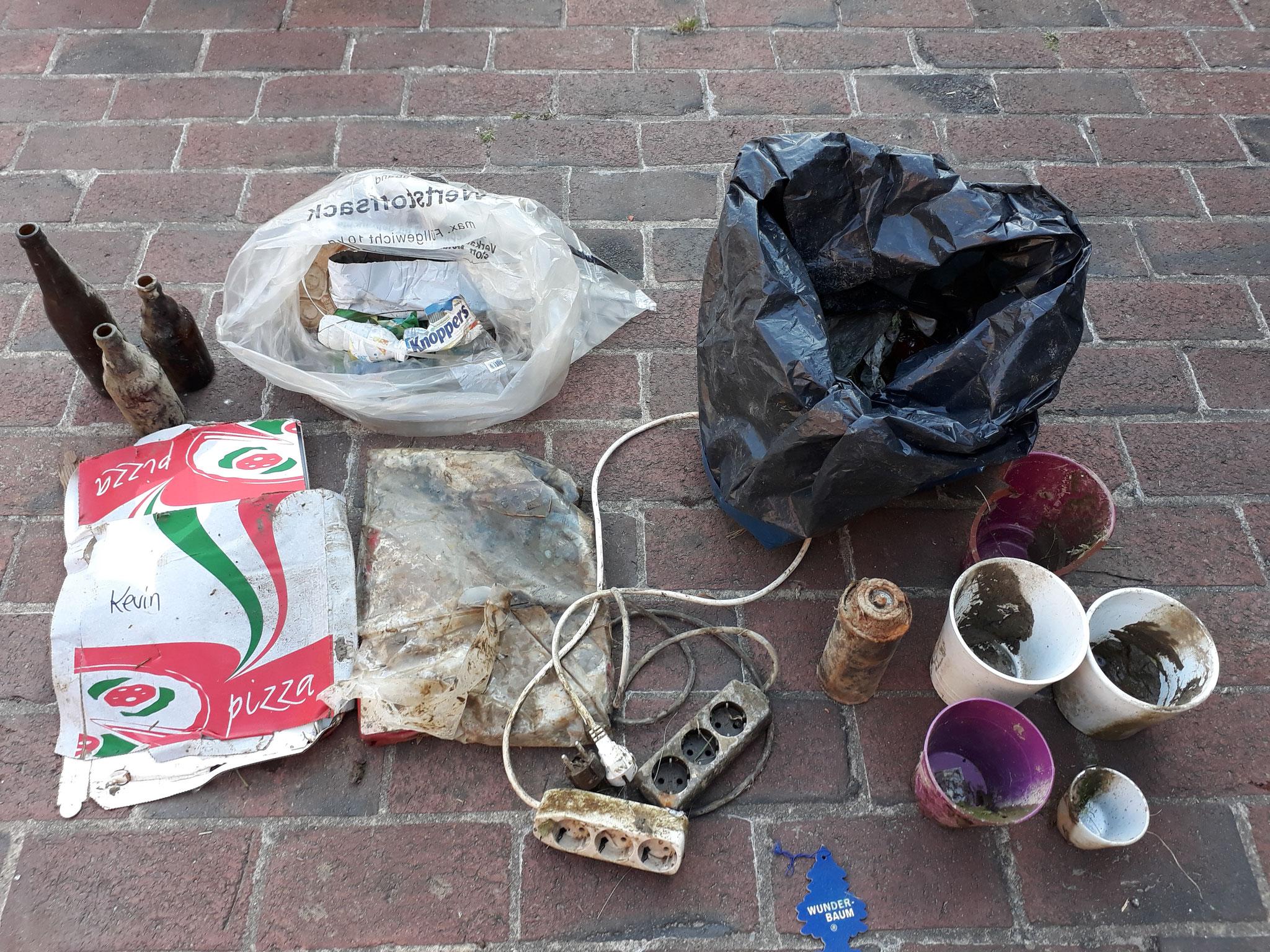 Müll-Sammlung am Regenrückhaltebecken in Luhden 2020 (Foto: J. Auras)