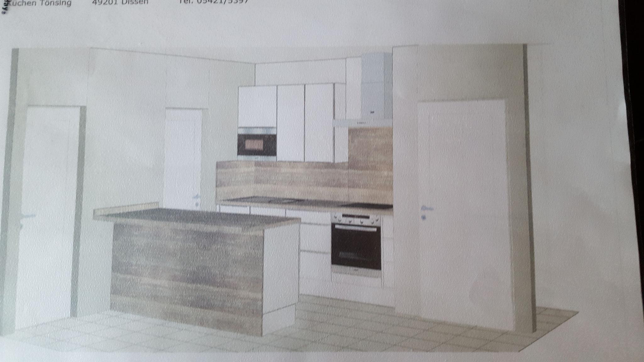 Die Zeichnung vom Küchenlieferanten