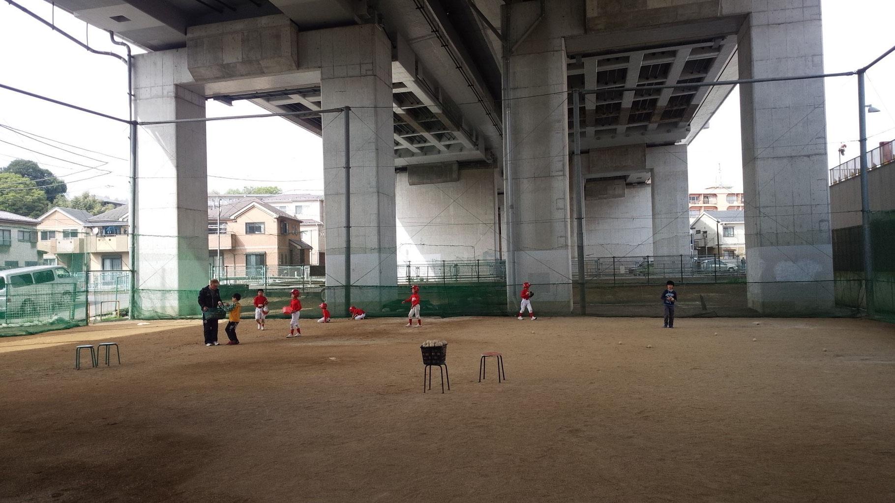 Bチーム練習風景(バッティング後の球拾い)