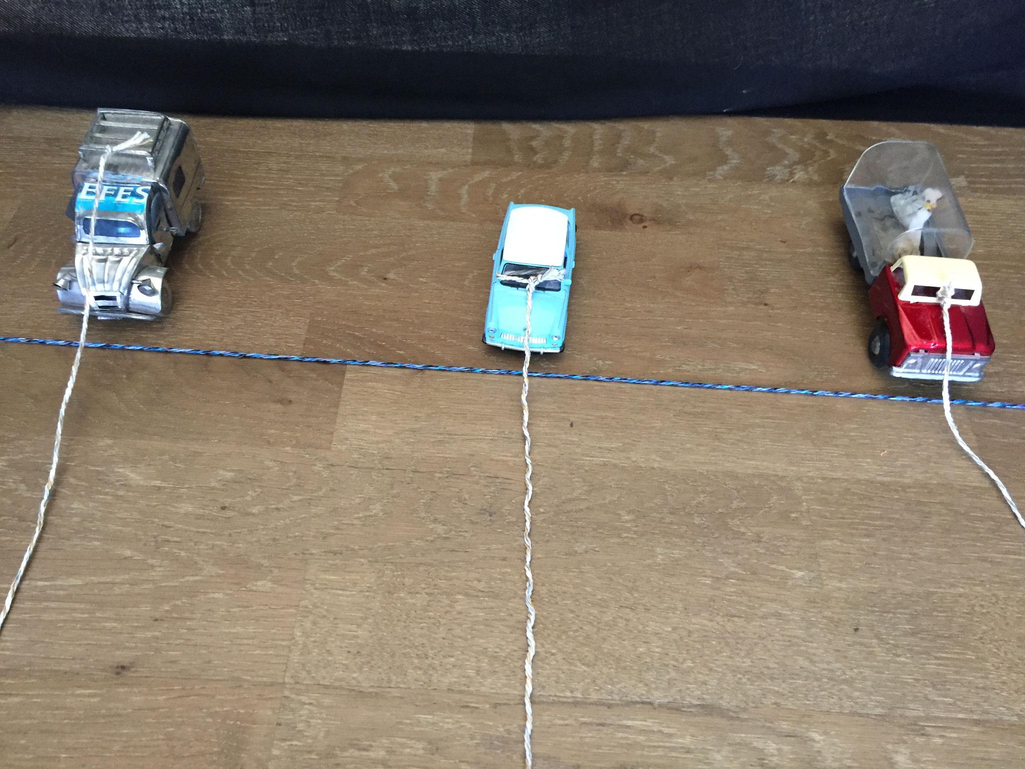 Alle stellen ihr Auto an den Start. Die Schnüre liegen auf dem Boden. Alle stehen hinter der Ziel Linie. Sie halten die WC Rolle in der Hand.