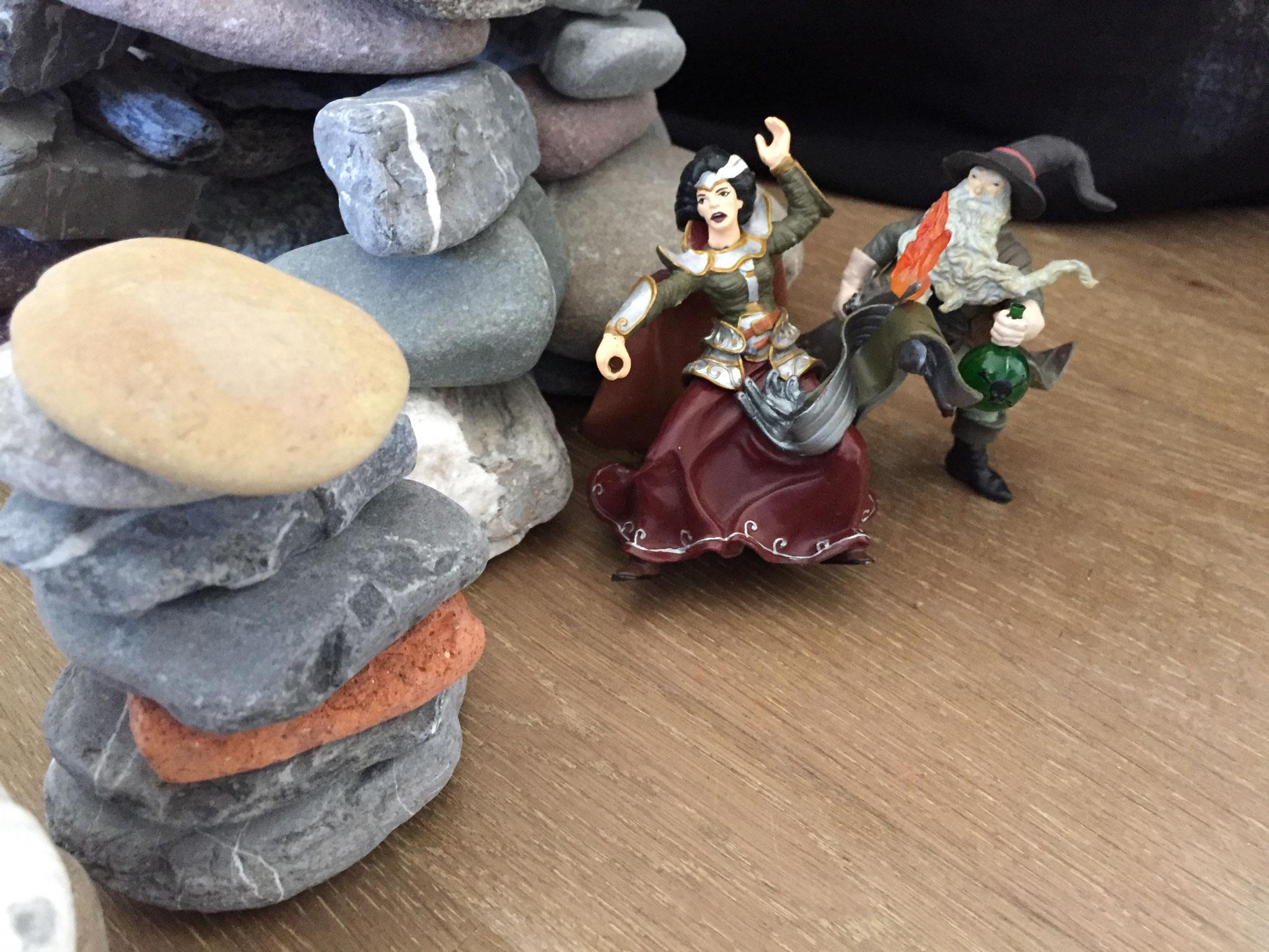 Der Zauberer befreite die Prinzessin.
