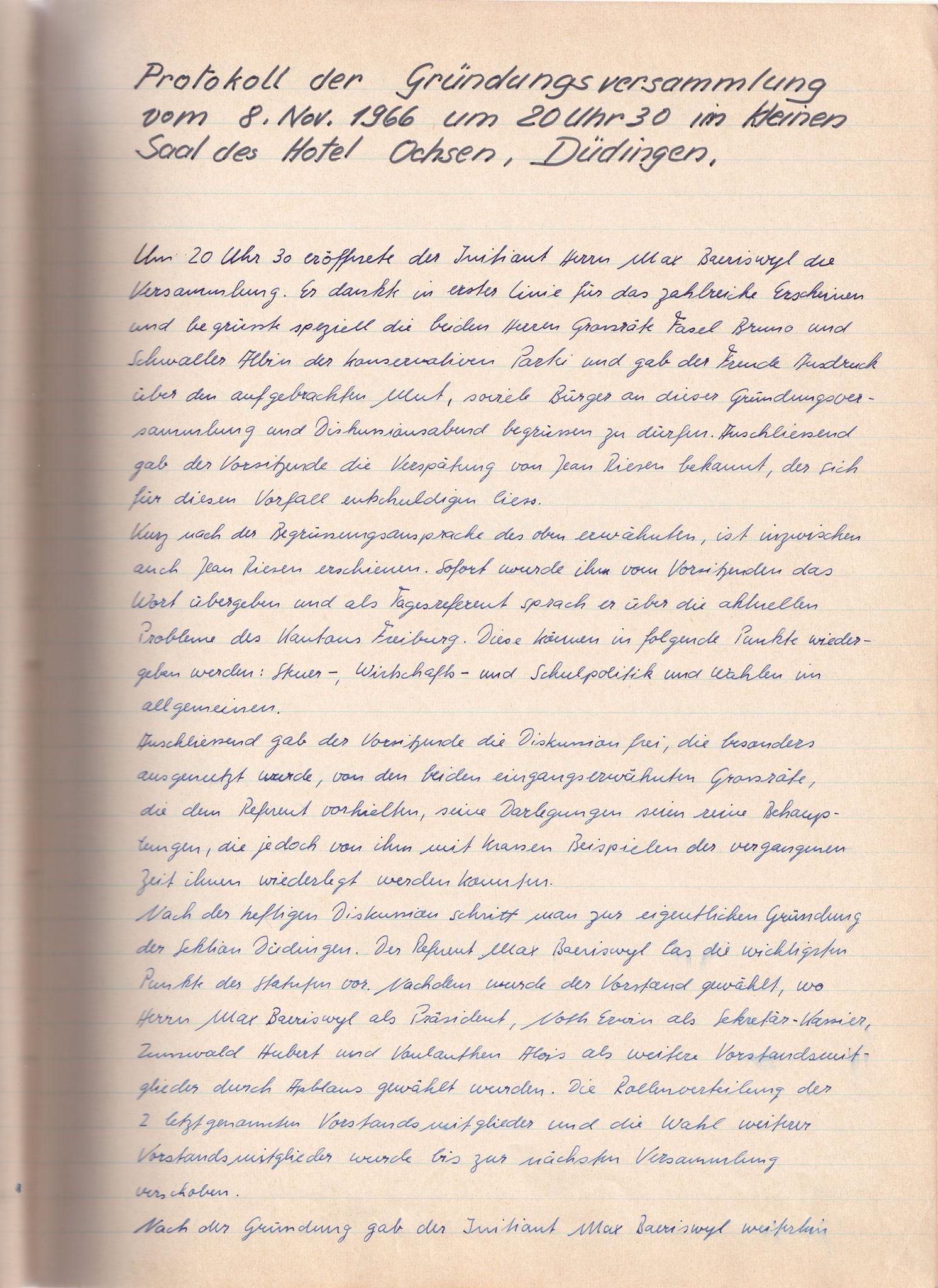 Protokoll der Gründungsversammlung vom 8. November 1966 1. Seite