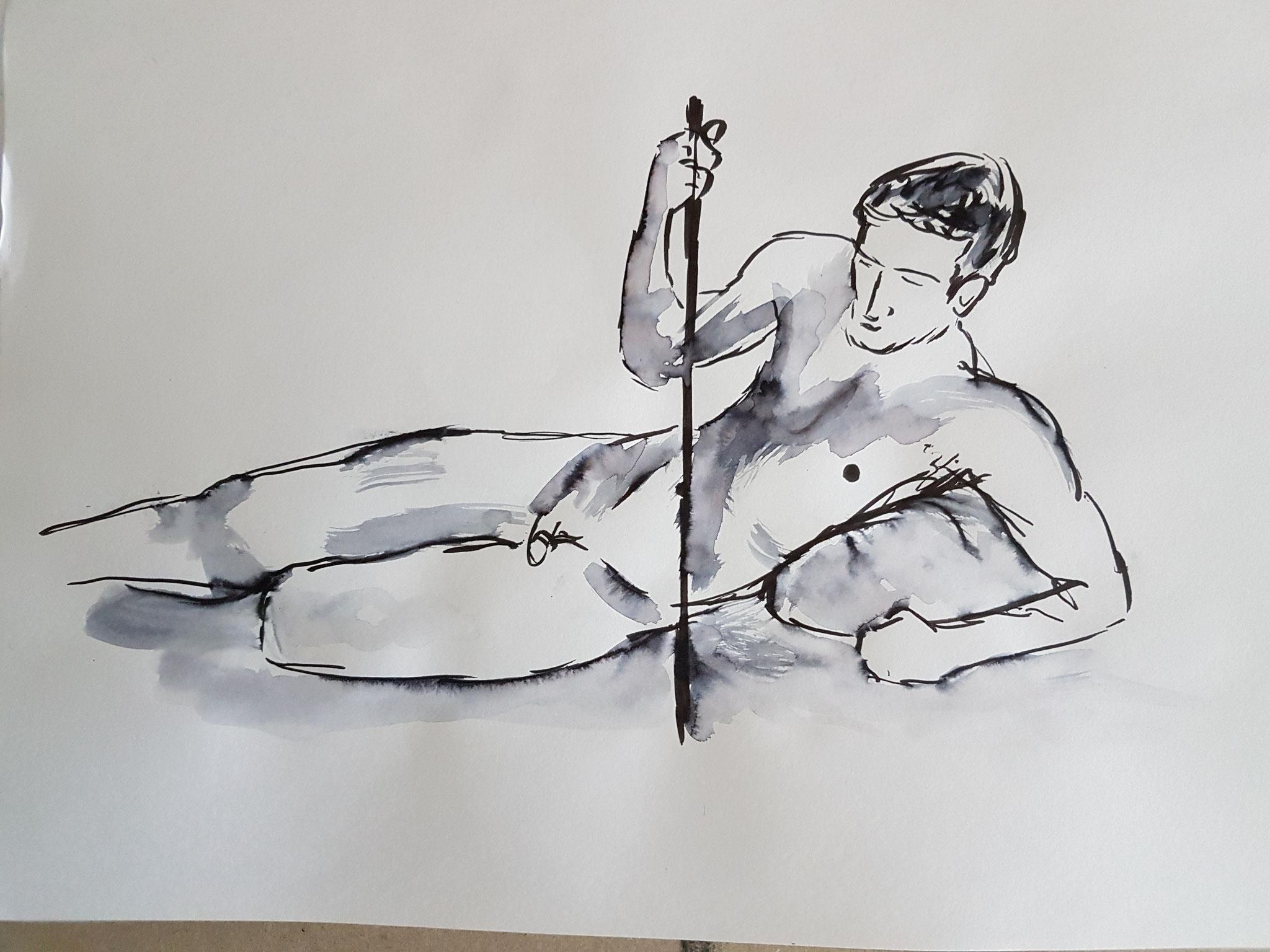 sterbender Krieger, Filzstift, 2017