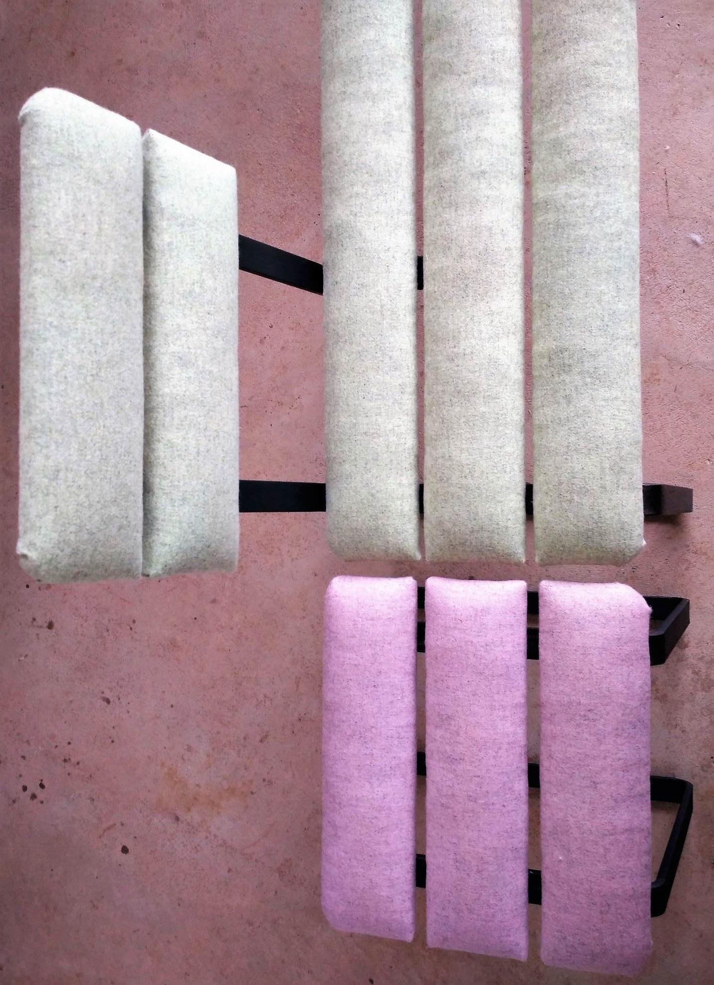 """Continuité formelle banc et tabouret """"Le déjeuner sur laine"""" © Atelier Marlène Vidal"""