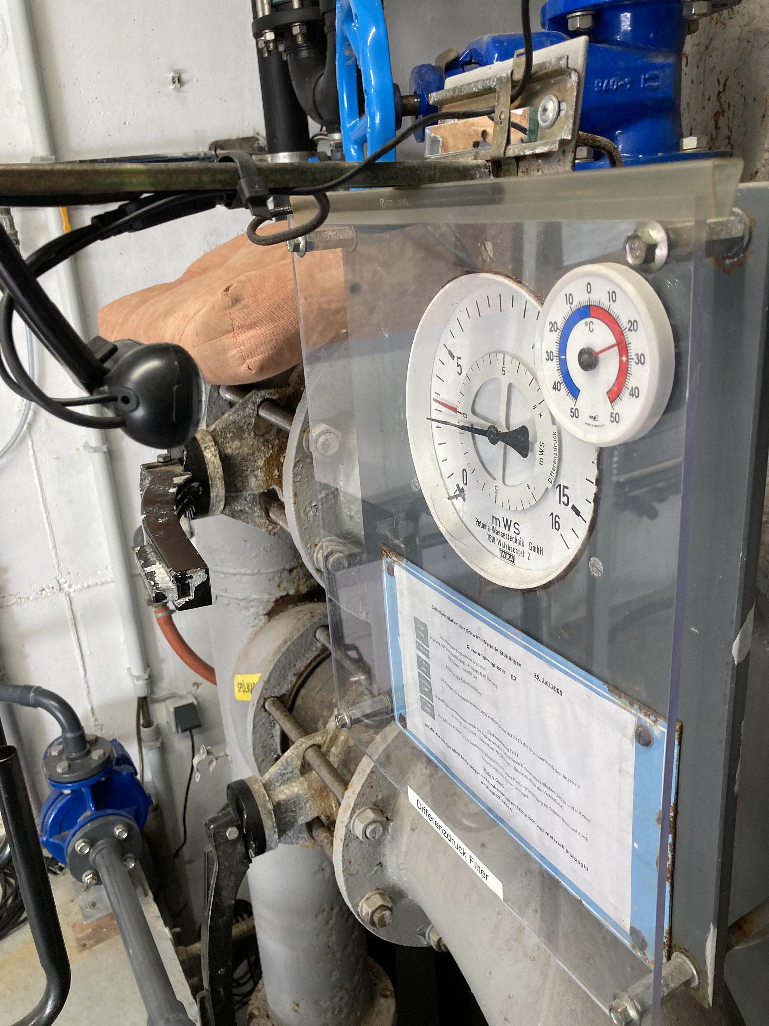 Der Differenzdruckmesser zeigt an, wenn der Wasserfilter gereinigt werden muss