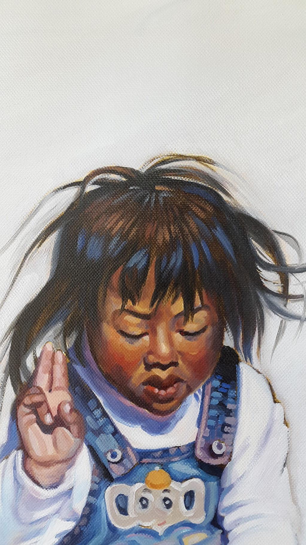 Kinder Tibets (Ausschnitt), Öl auf Leinwand
