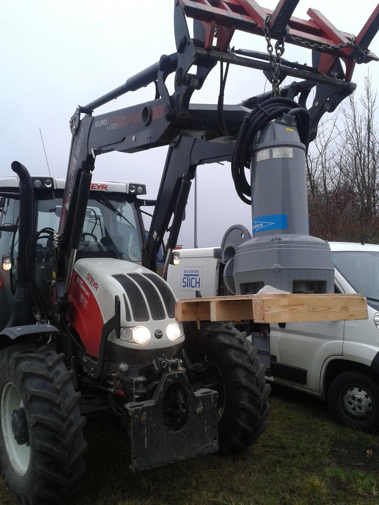 Einbau Flygt Hochdruckpumpe NP3171