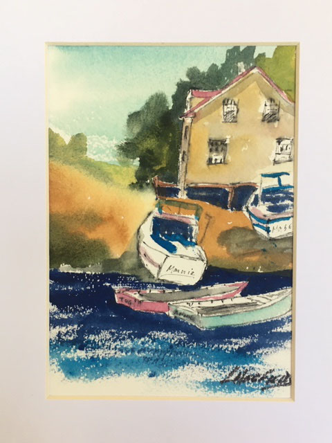 The Fleet's In 7 x 5 watercolour (matted 10 x 8)